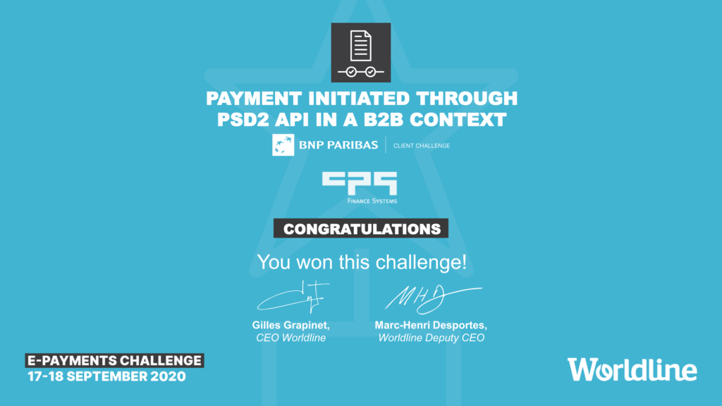 BNP Paribas Business Challenge: Payment initiated through PSD2 API in a B2B context